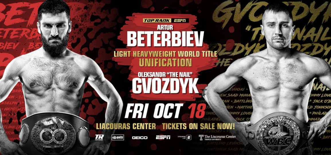 Light Heavyweight Mayhem: Unbeaten Champions Beterbiev and Gvozdyk Set to Unify Titles October 18 in Philadelphia